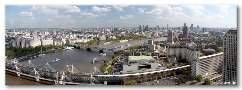 River Thames panorama from London Eye