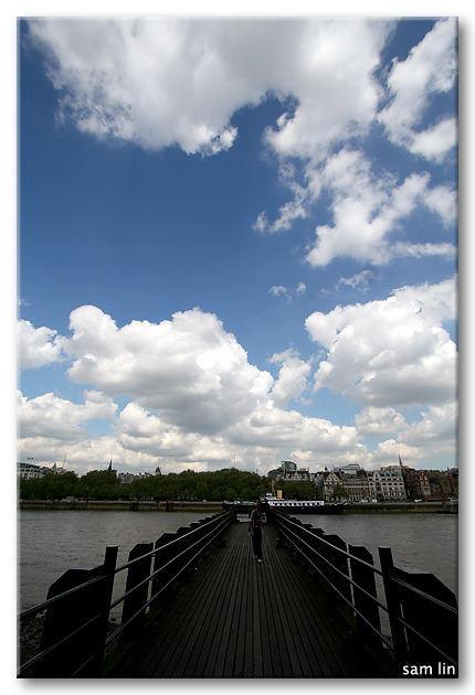 River Thames and Fluffy Clouds