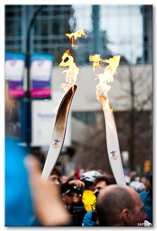 Olympic flame exchange