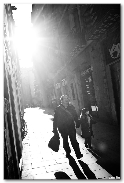 Father and Daughter in Barcelona