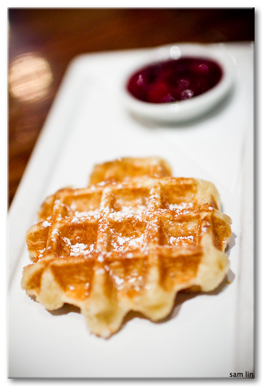 Belgian waffle with berry compote