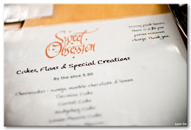 Sweet Obsession Menu