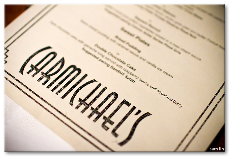Carmichael's Dine Out Menu