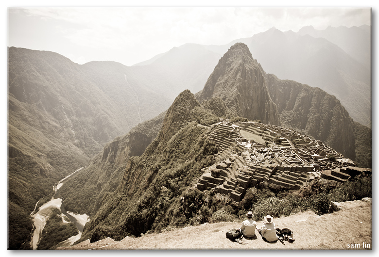 Couple view of Machu Picchu from Terrace