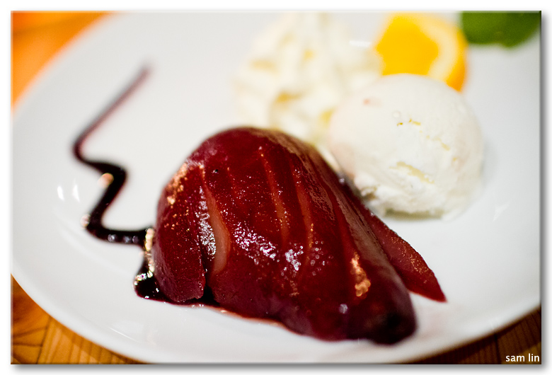 Wine-poached pear
